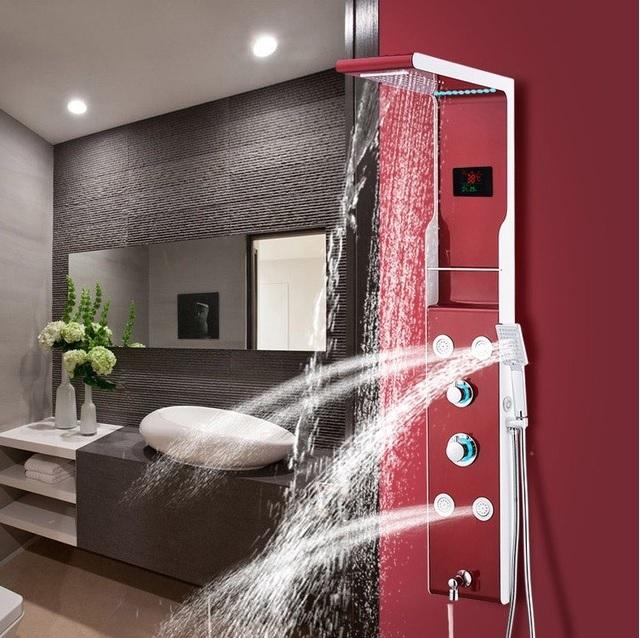 artcle mon meublé la rédaction la balnéothérapie balnéothérapie ou toilette revigorante actifs panneau de douche led hydromassant thermostatique rouge