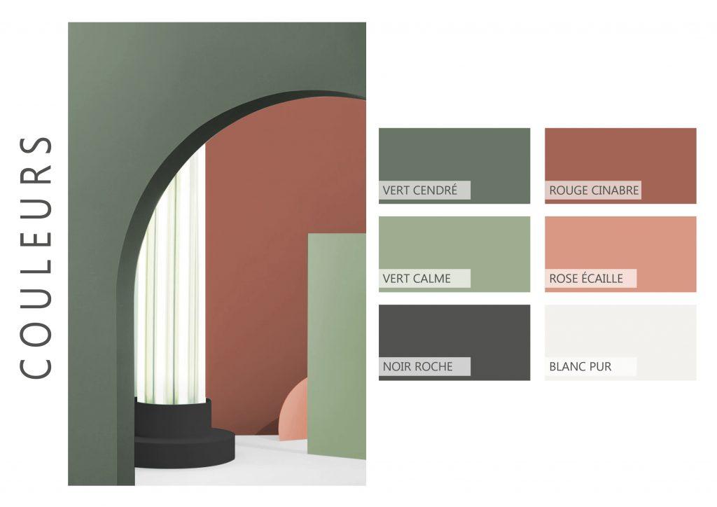 Ophélie Ribeyre article mon meublé projet aménagement moodboard couleurs fortes coupe colorimétrique croquis