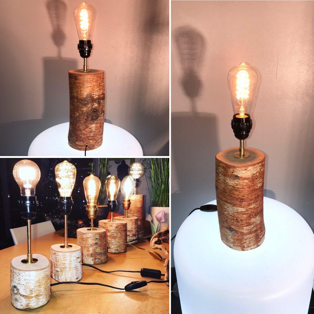 Créations uniques et lumineuses Lampes bouleau rondin bois recyclé Mon Meublé