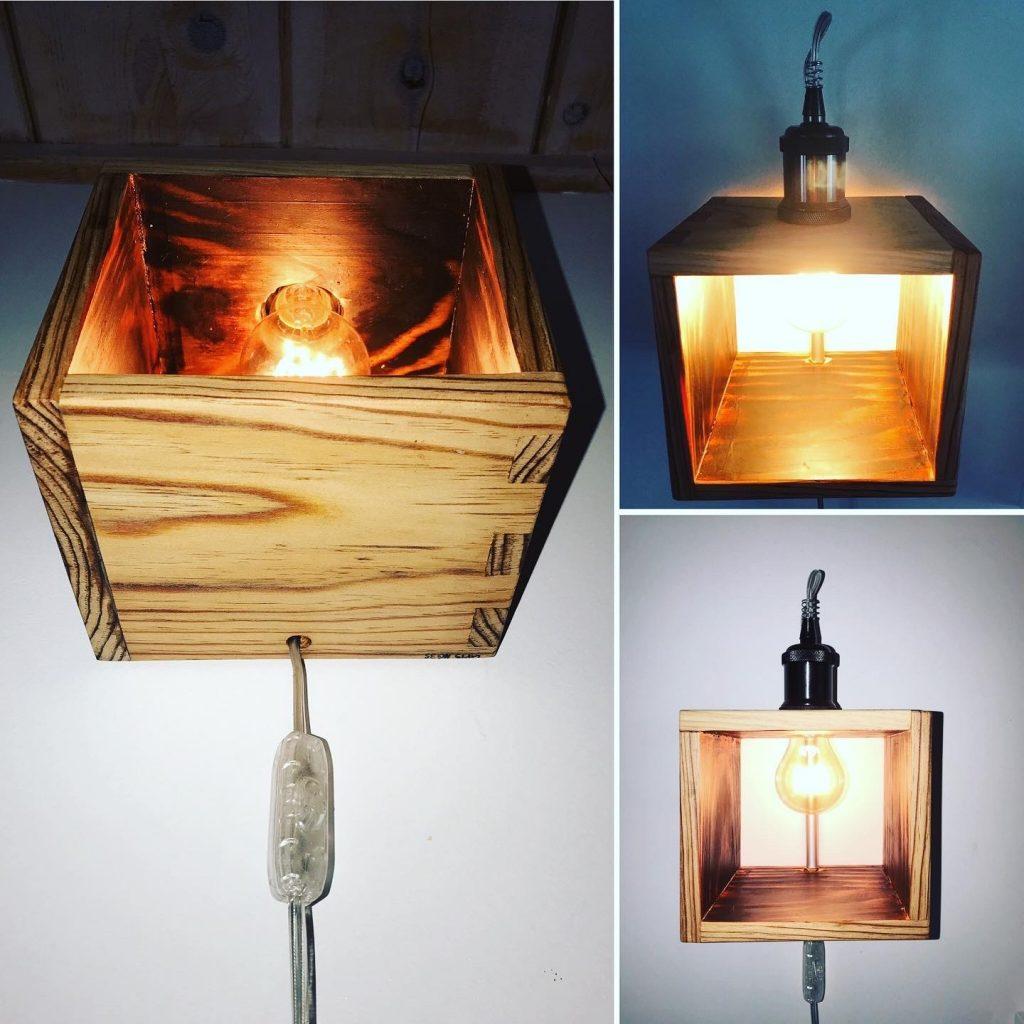 Applique murale originale bois Lampe cube bois pin des Landes