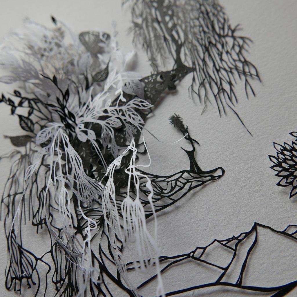 découpe artistique de papier tableau en papier découpé Marie-Laure Beun artiste découpe de papier Suisse