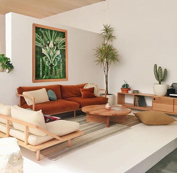 Blog décoration Tableau Retropical Myriam Hubert exposé dans un salon