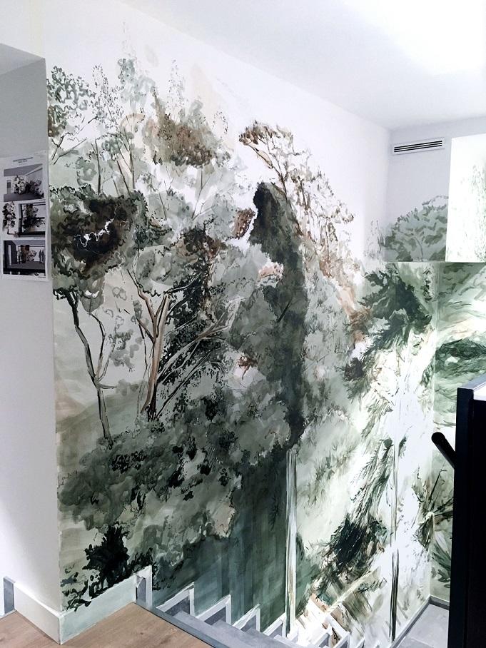 enduit mural intérieur fresque murale intérieur végétale