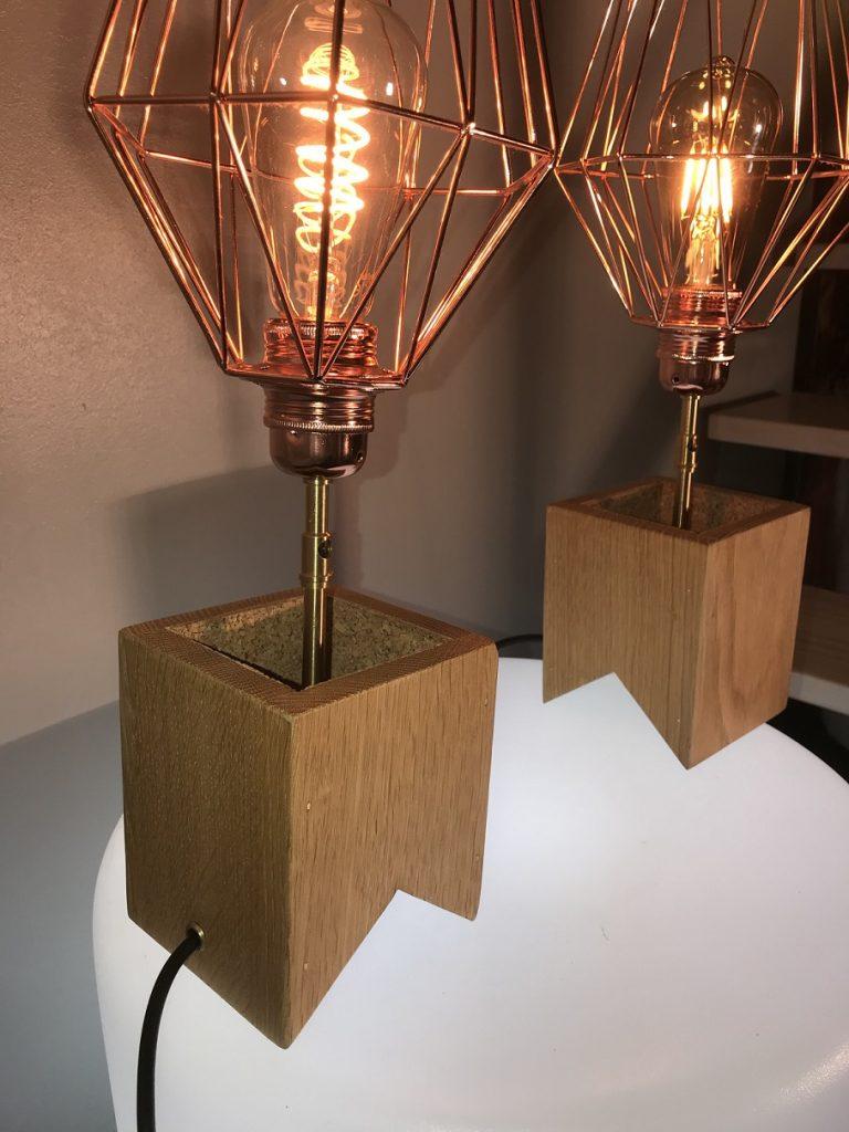 Paire lampe de chevet bois design
