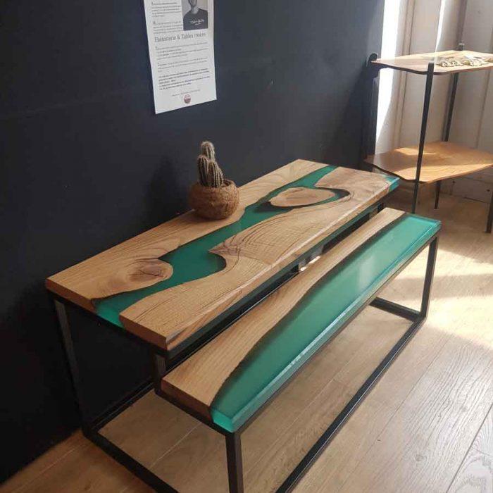 artisan ébéniste haute-garonne table rivière bois résine époxy commande meuble