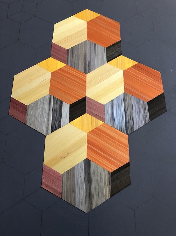Table d'appoint marqueterie table en marqueterie moderne géométrique