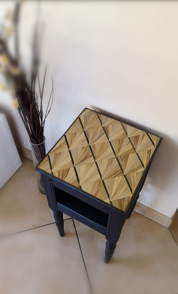 MorDorée etla transformation meuble décoration murale en marqueterie de paille Haute-Saône