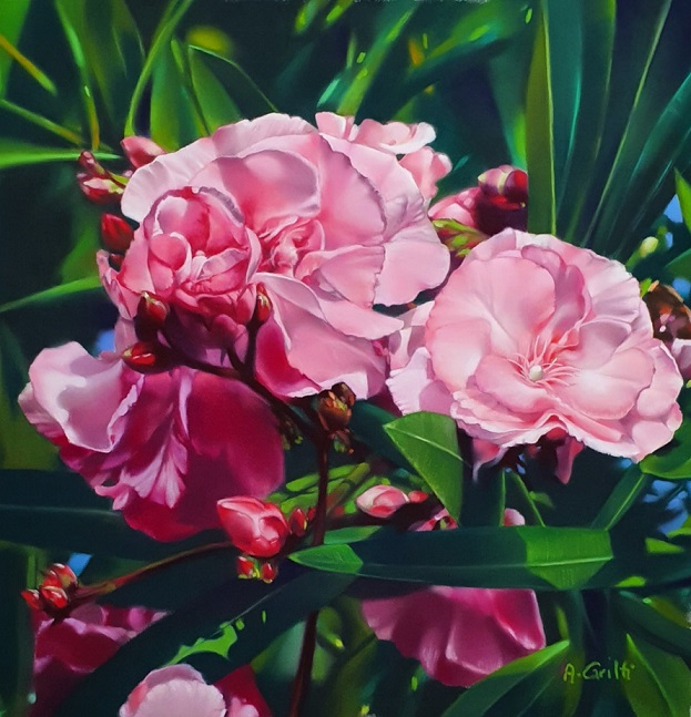 Audrey Gritti tableau laurier en fleur pastel sec peinture réaliste motif floral