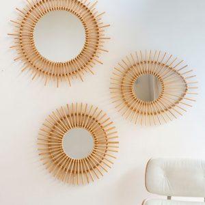 Espace bohème Déco bohème scandinave miroir en rotin affiche bord de mer