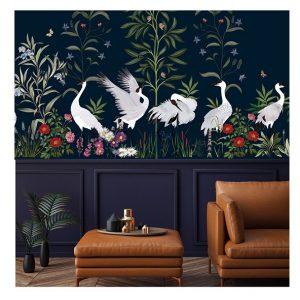 Mlle Mouns Papiers peints panoramiques sur-mesure la parade des oiseaux décor poétique