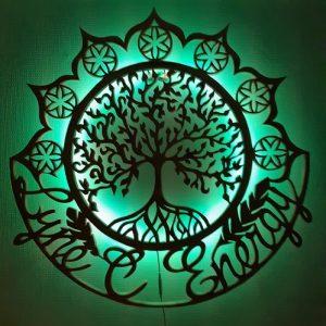 Mandala bois inwoodveritas panneau bois découpé sculpture bois motif spirituel